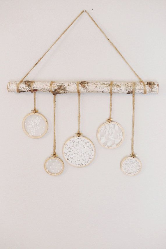 This Lace And Birch Wall Hanging Is Even More Beautiful In Person Made With A Sturdy 2 Foot Birch Branch Twin Tree Branch Decor Birch Tree Decor Branch Decor