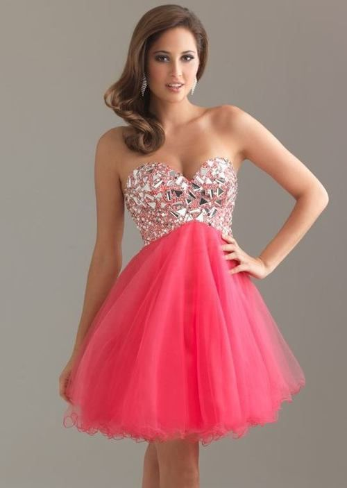Short Pink Prom Dress Photo Album - Reikian
