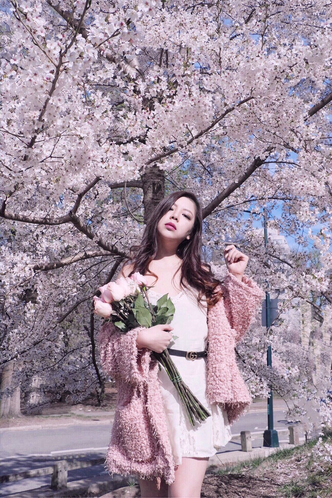 Cherry Blossoms Chasing In New York City Sincerely Ophelia Cherry Blossom Outfit Cherry Blossom Girl Spring Photoshoot