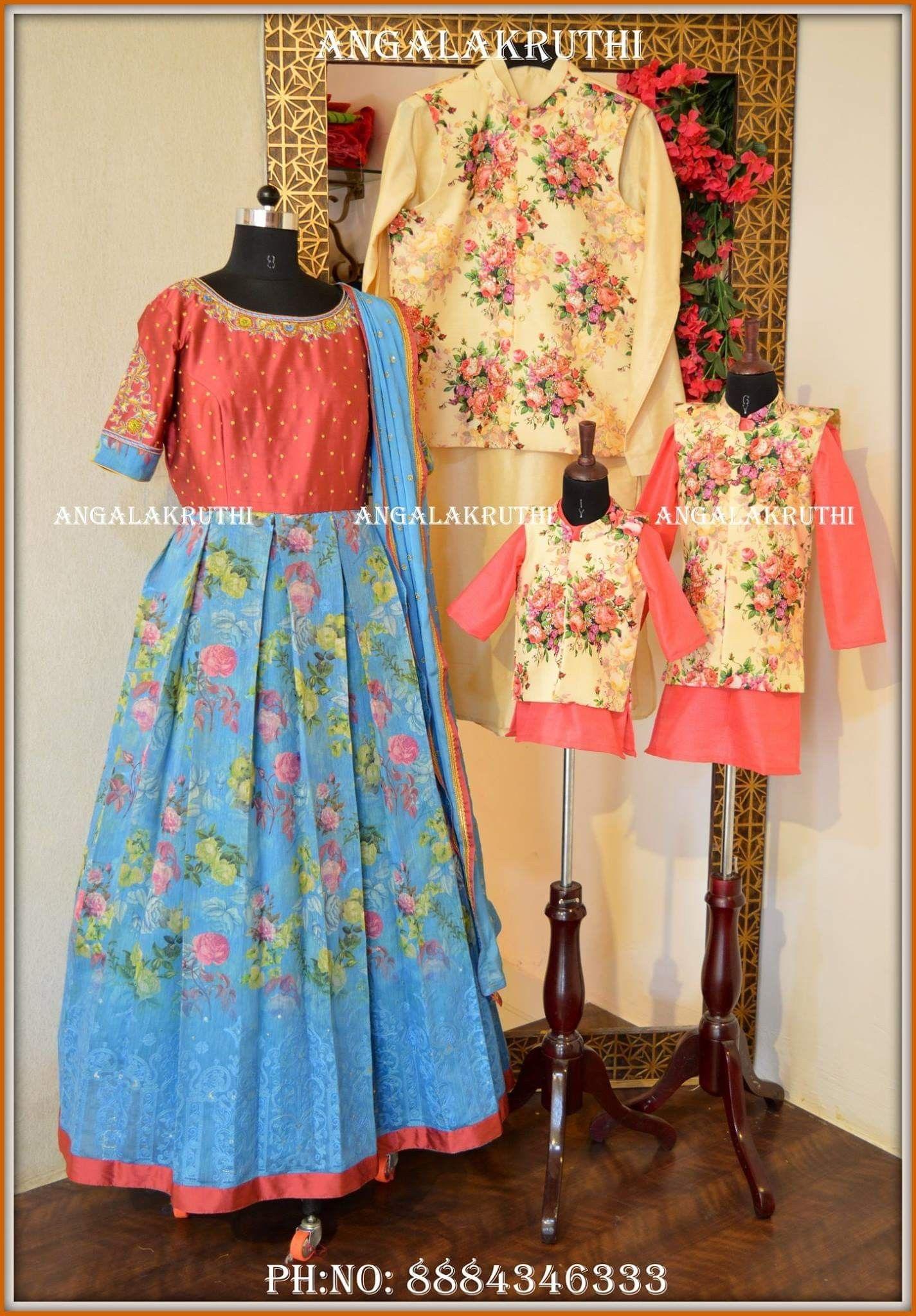Family Matching Dress Designs By Angalakruthi Bangalore India Angalakruthi Custom Designer Kids Matching Dresses Mom And Baby Dresses Mom And Daughter Matching