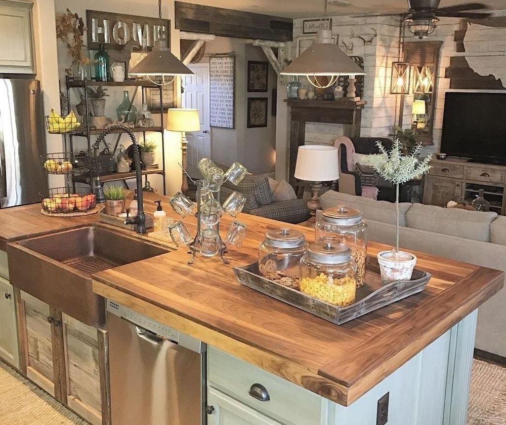 51 Amazing Vintage Farmhouse Style Kitchen Island Design Ideas Kitchenideas Rustic Kitchen Cabinets Rustic Kitchen Design Farmhouse Style Kitchen