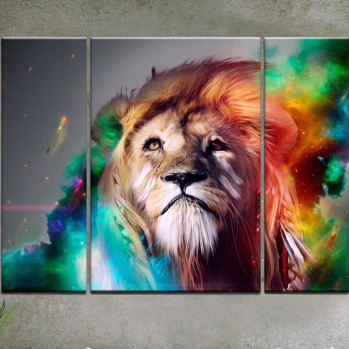 Rain Queen Modern Abstract Art Colorful Lion Oil Paintings