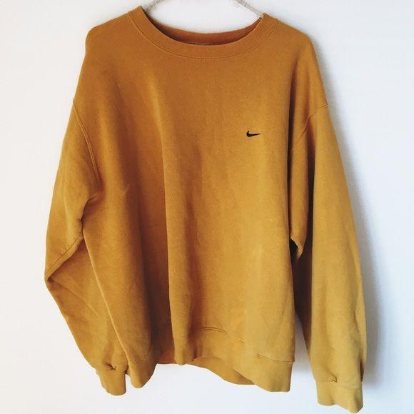 100% high quality super cheap 50% off Nike Sweaters - Vintage yellow Nike crewneck sweatshirt ...