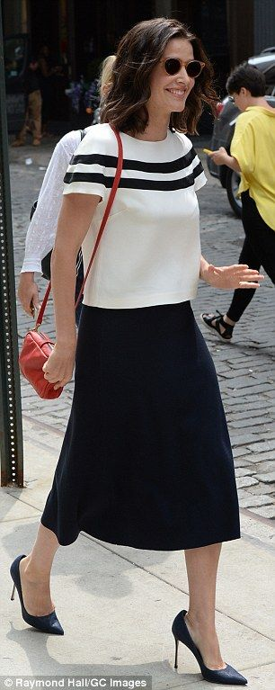 From night to day: The Avengers actress wore her short bob down and finished her daytime l...