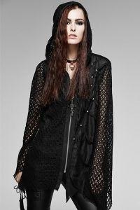 Asymmetrische Gothic Jacke mit Netz & riesiger Kapuze
