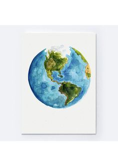 Watercolor world map painting abstract globe by colorwatercolor items similar to watercolor world map painting abstract globe art print gift idea north america map central south america illustration planet earth on gumiabroncs Image collections