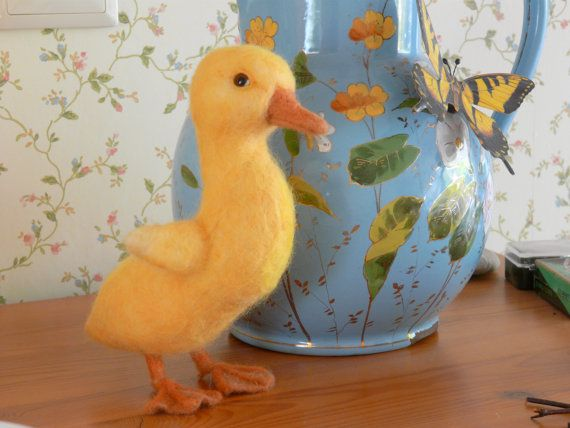 Yellow lifelike needle felted duckling life sized by FeltSpecial