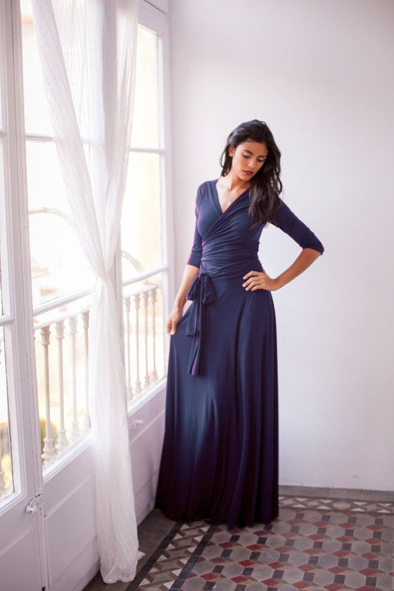 Navy Blue wrap Dress Navy Blue Maxi Dress Long Sleeve Navy by ...