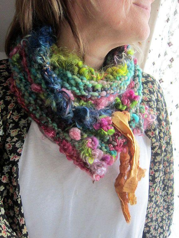 handknit scarf cowl neckwarmer  gypsy rose par beautifulplace