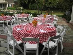 Table Clothes For A Lady And The Tramp Wedding Reception Bbq Wedding Reception Bbq Rehearsal Dinner Backyard Bbq Party
