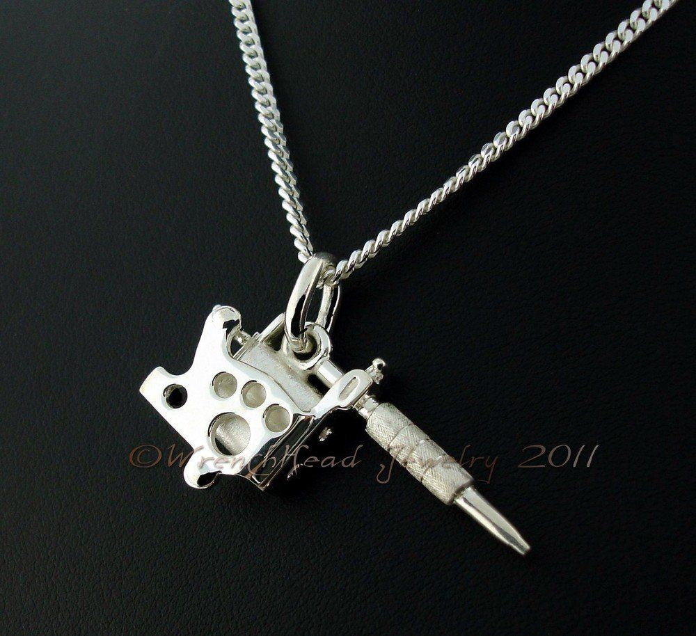Sterling silver tattoo gun pendant cw chain silver tattoo and tattoo sterling silver tattoo gun pendant cw chain mozeypictures Gallery