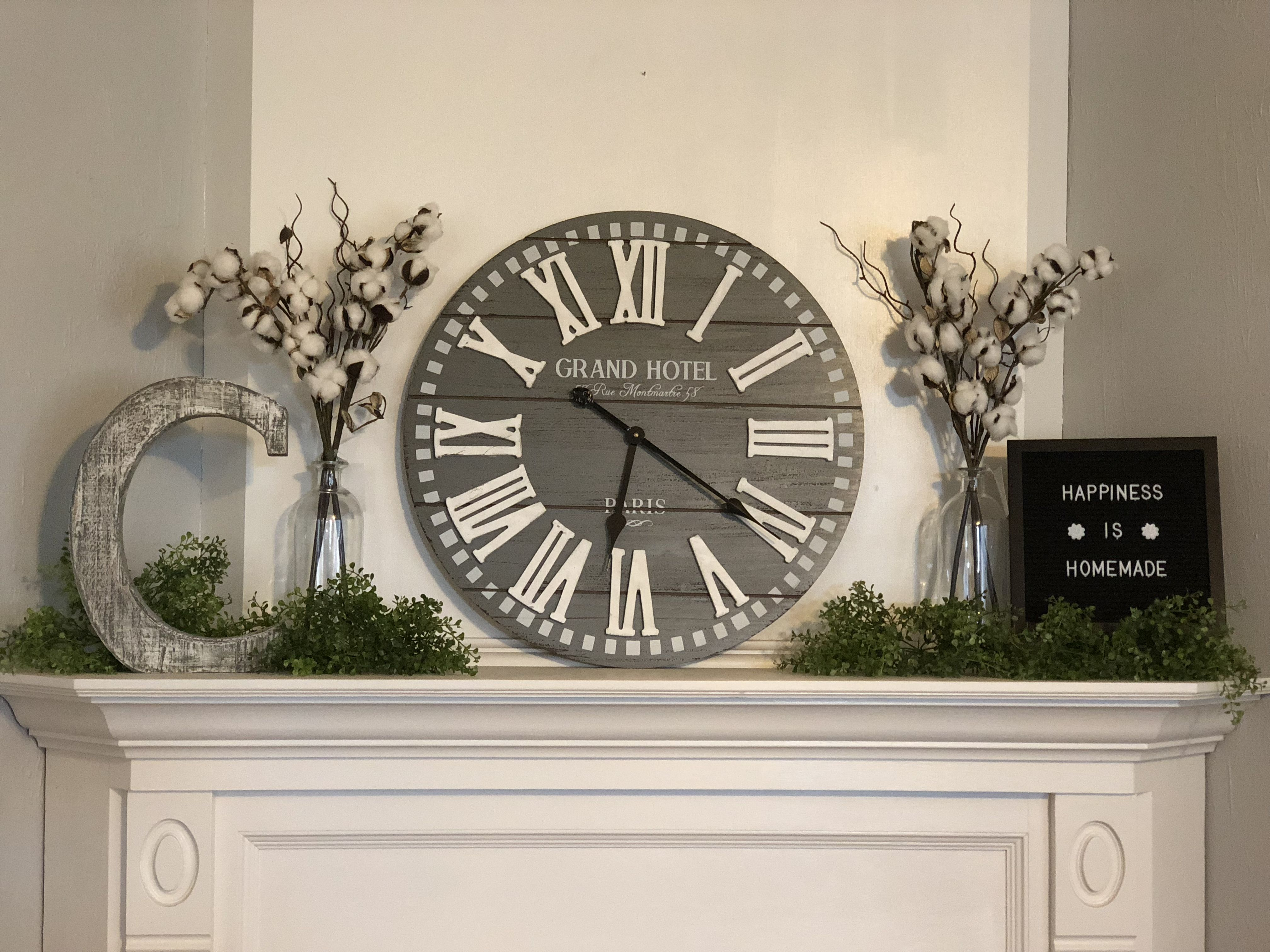 Hobby lobby grey clock cotton vase mantle letterboard