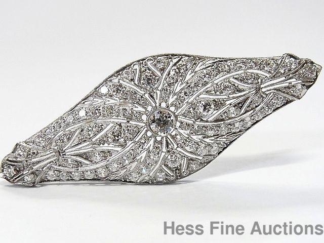 Fine Jewelry Antique Pin Brooch Platinum Diamond Last Style
