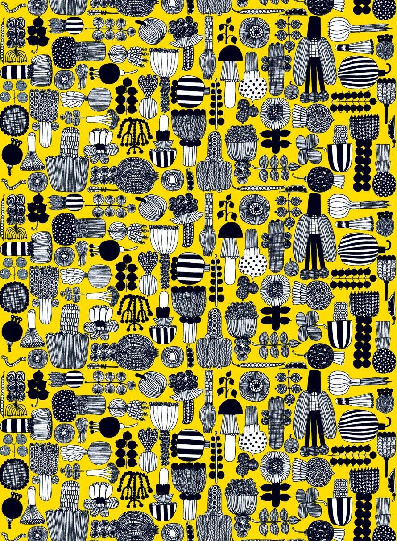 Puutarhurin parhaat cotton fabric yellow, white, black