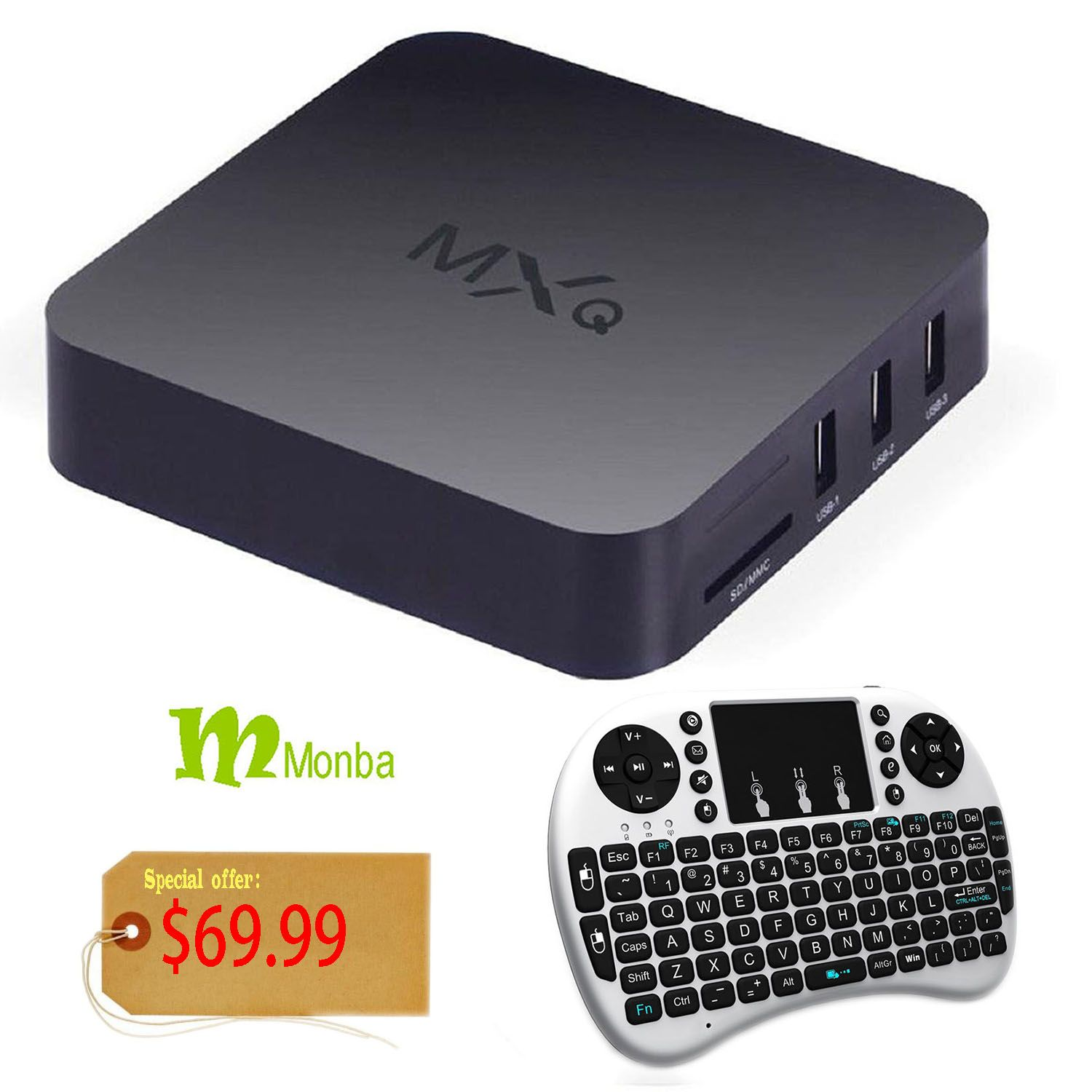 Monba MXQ Quad Core 1080P Google Android 4 4 Smart Mini PC TV Box
