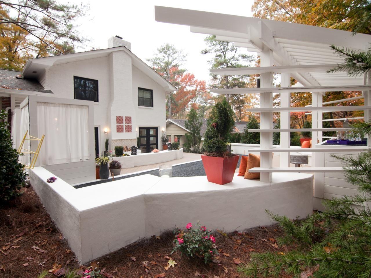Contempoary White Patio With Pergola Backyard Backyard Makeover Patio Modern backyard makeover hgtv