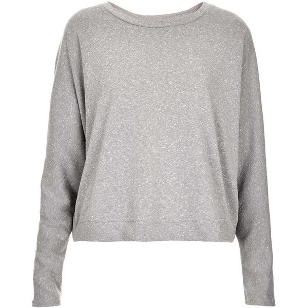 TOPSHOP Oversize Crop Sweat (23 CAD) ❤ liked on Polyvore featuring tops, sweaters, topshop, jumpers, pale grey, oversized tops, oversized crop top, crop top and topshop tops