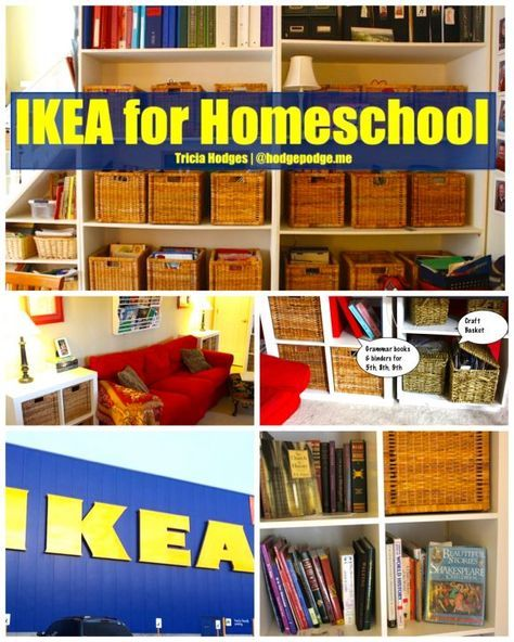 IKEA for Homeschool  Organization Update is part of School Organization Room - IKEA for homeschool organization  baskets, bookshelves, chalkboards and more  Plus a tour of the Hodgepodge homeschool room and organization for mom!