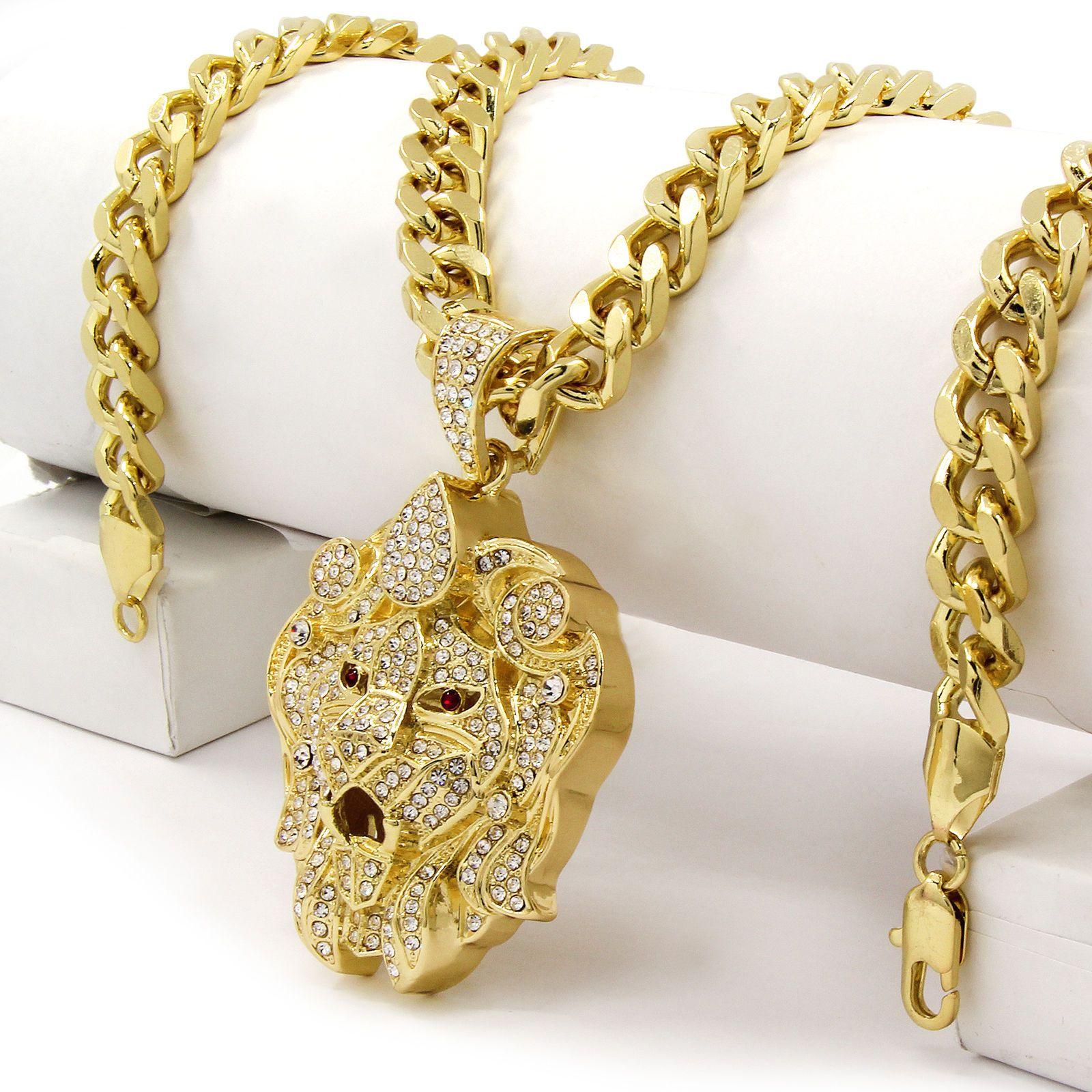 Men Iced Out Hip Hop 14K Gold Plated Lion Face Cz Pendant 30