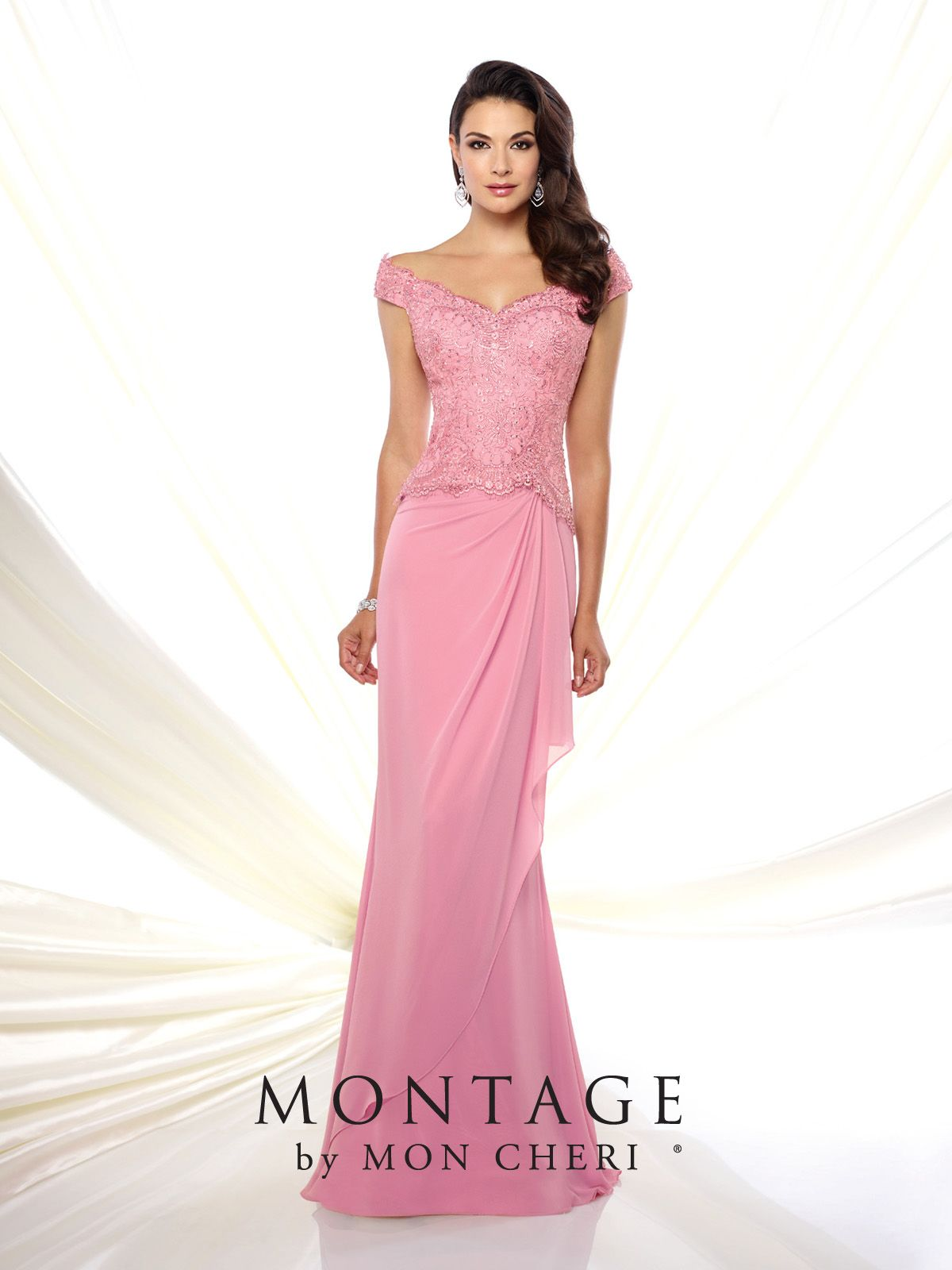 Chiffon and Lace Fit and Flare Gown - Montage by Mon Cheri 116937 ...