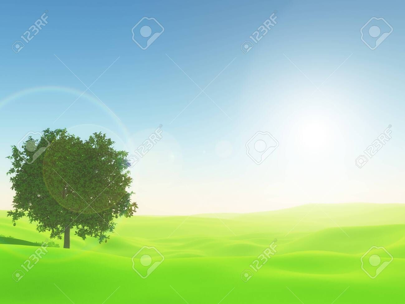 3d Render Of A Sunny Landscape With Tree In Bright Green Grass Affiliate Landscape Sunny Render Tree Grass Landscape Trees Green Grass Landscape