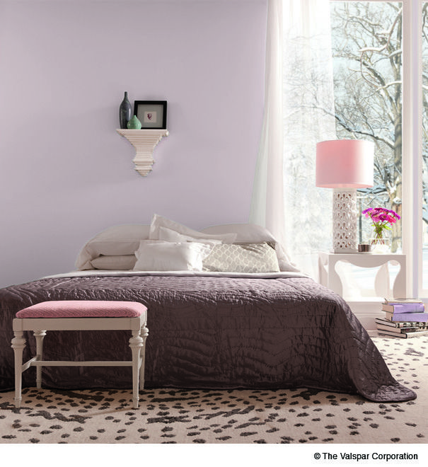 "10 Living Rooms With Calming Colors: ""Winter Calm"" Light Lilac Purple Interior Wall Paint From"