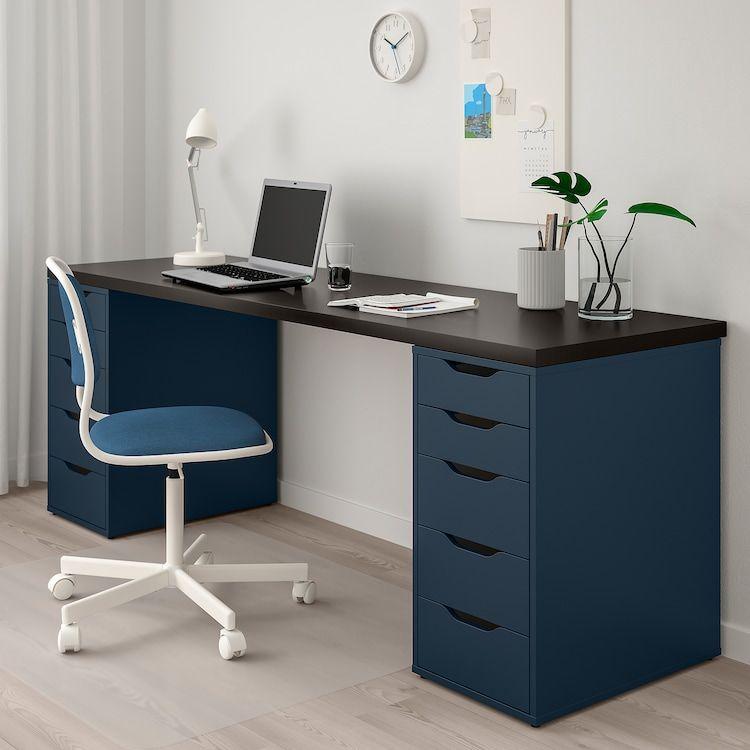 Linnmon Alex Tafel Zwartbruin Blauw Ikea Kantoorontwerpen Ikea Ikea Kantoor
