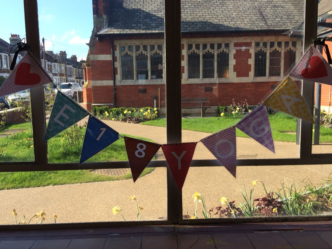 Even my yoga class has bunting!