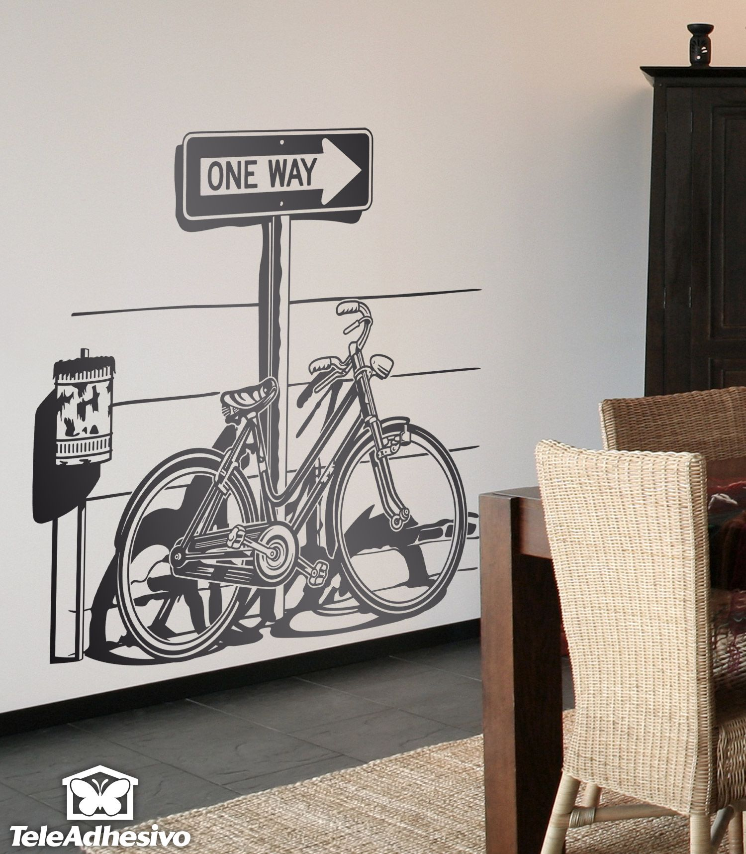 Wall Stickers Bicyclette On Traffic Sign One Way