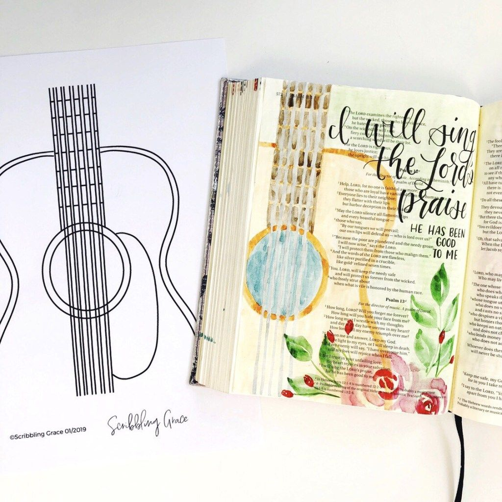 Bible Journaling With Me- Watercolor Guitar- Plus A Free