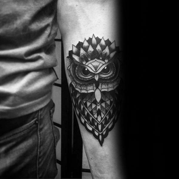 80 Geometric Owl Tattoo Designs For Men Shape Ink Ideas Geometric Owl Geometric Owl Tattoo Owl Forearm Tattoo