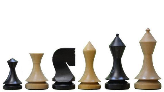 19th Century Classic Series Chess Set in Stained Dyed & Box Wood - 4.0 King. SKU: S1254