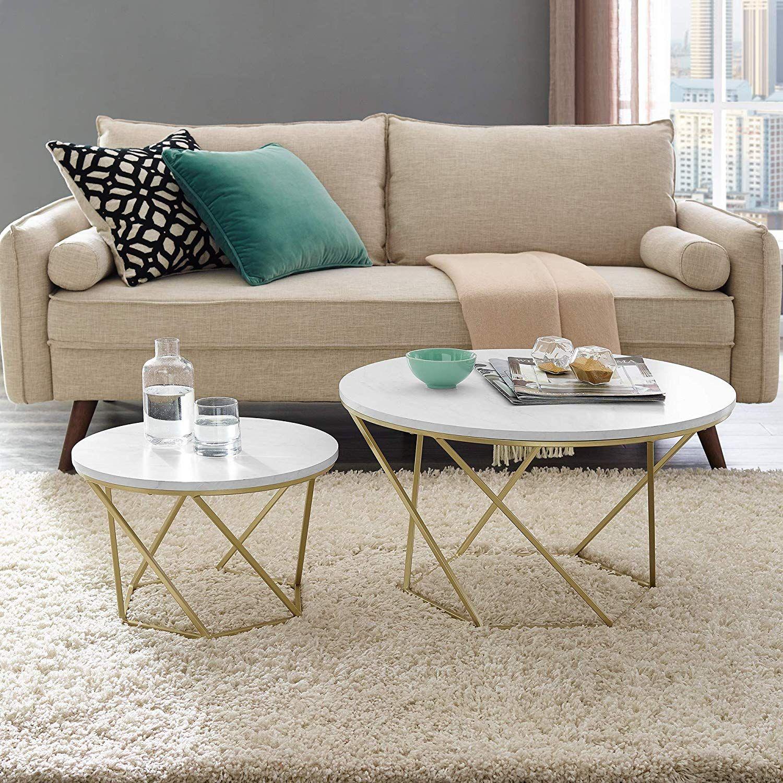 Geometric Nesting Coffee Tables Gold Coffee Table Nesting Coffee Tables Living Room Accent Tables [ 1500 x 1500 Pixel ]