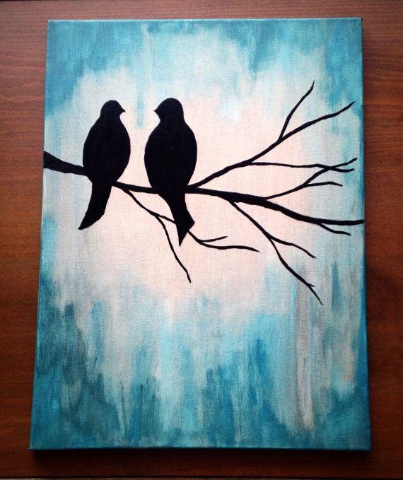 lovebirds canvas painting my etsy shop simple acrylic paintings easy canvas painting. Black Bedroom Furniture Sets. Home Design Ideas