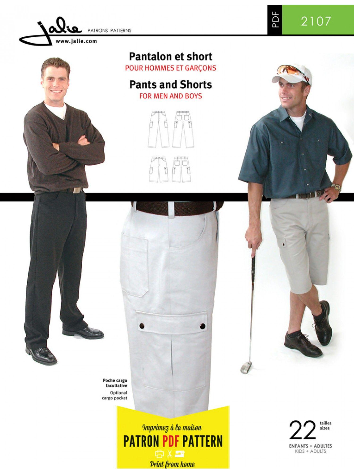 Jalie 2107 - Men\'s Pants PDF Pattern - Sewing Patterns | Patterns ...