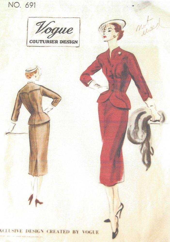 1952 Vintage VOGUE Sewing Pattern B34 SUIT-JACKET SKIRT (1110) #Vogue