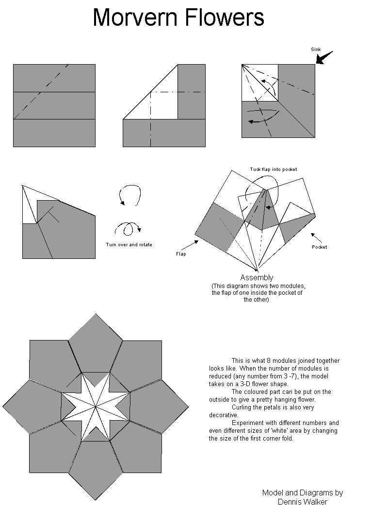 Origami Instructions Flower Easy Tea Paper Folding Pinterest