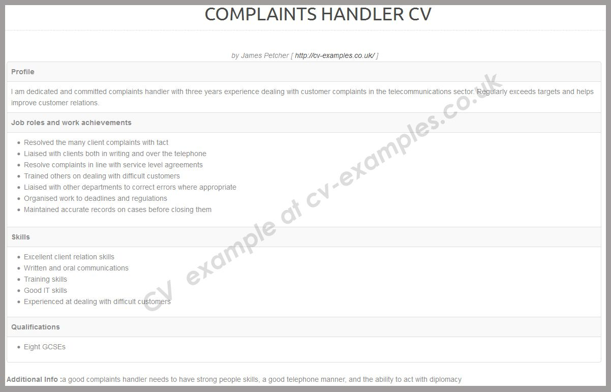 Complaint Handler Cv Examples  Cv Writing Tips    Cv