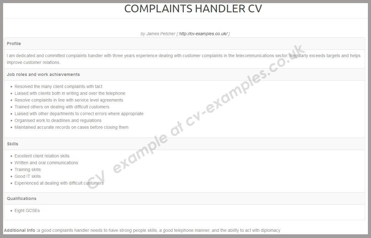 complaint handler cv examples