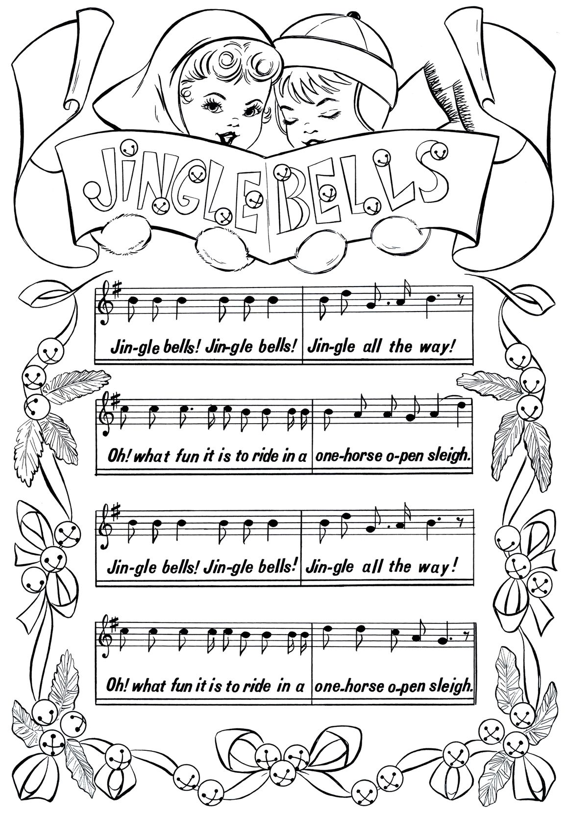 vintage christmas coloring pages printable christmas coloring page jingle bells