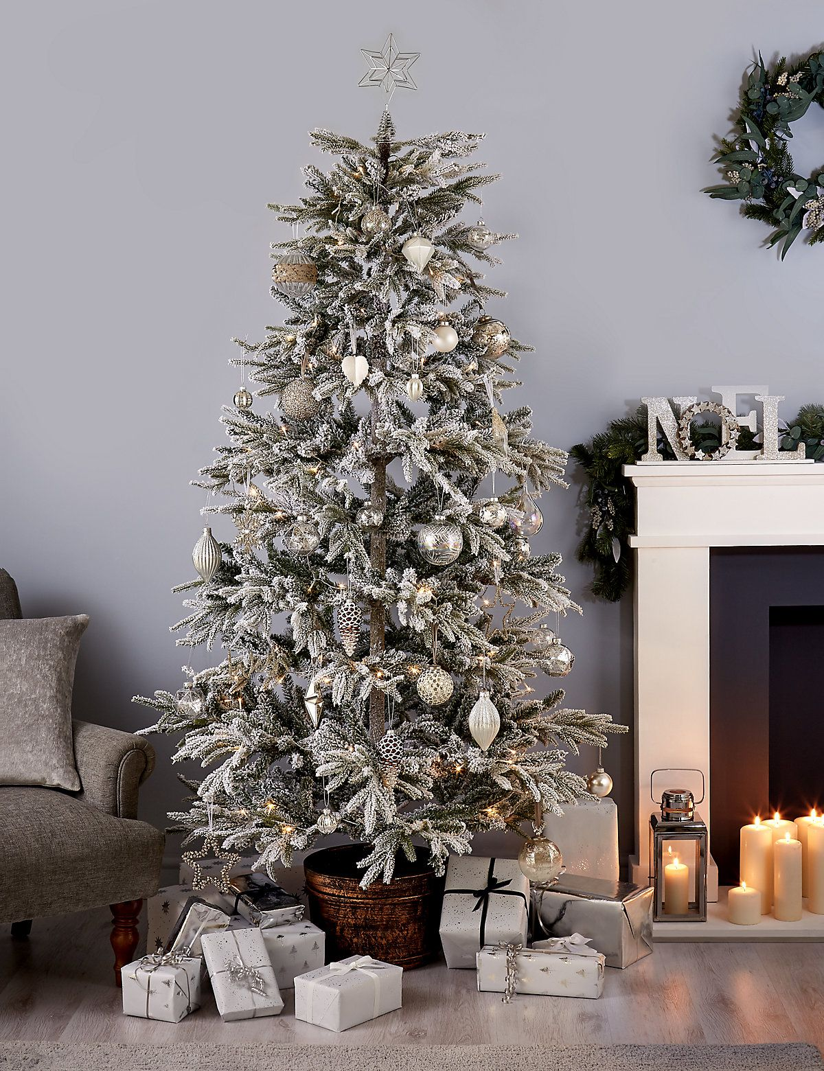 7ft Snowy Potted Christmas Tree M S Beautiful Christmas Christmas Tree Beautiful Decor