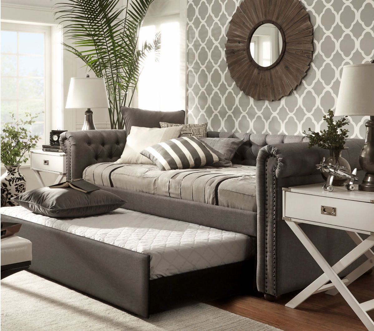 Day Beds For Teens - Daybed with trundle beds for kids adult teens upholstered dorm guest room modern in home