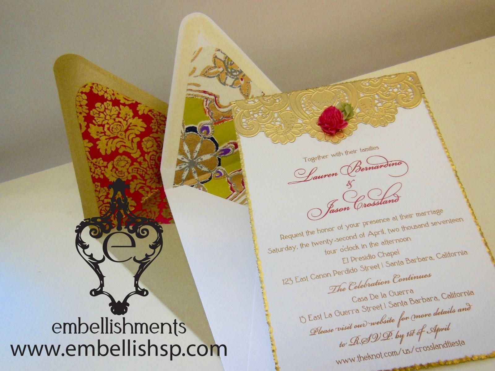 Dulce fuchsia and gold wedding invitation xo embellishments ...