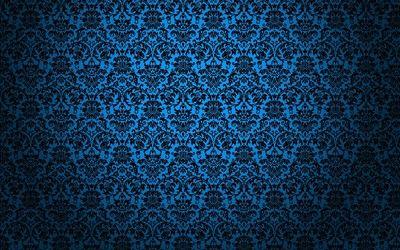 Blue Vintage Pattern Hd Wallpaper Black Floral Wallpaper Pattern Wallpaper Phone Background Patterns