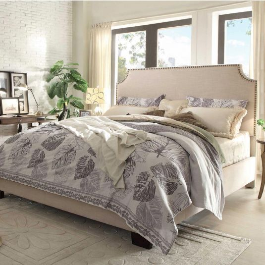 Alicante Fabric Upholstered Bed - Sand Linen Cal King Bed in Sand ...