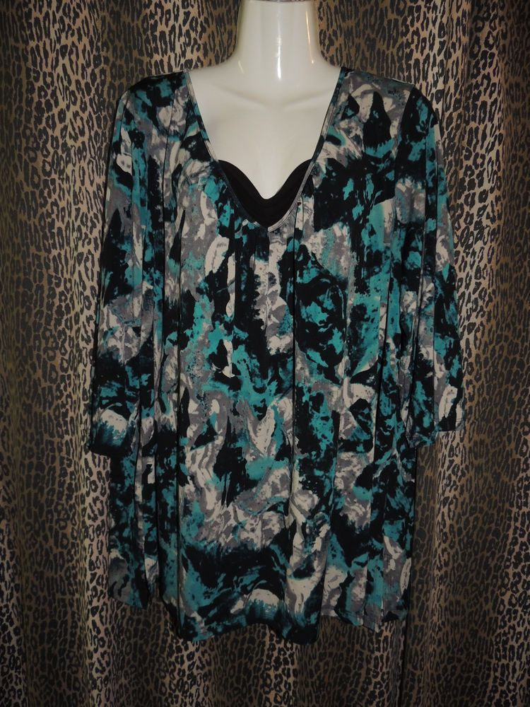 Cato WOMAN Plus Size Womens Sexy Multi-Color 3/4 Sleeve Top Blouse Size 22/24W #Cato #Sexy #Casual
