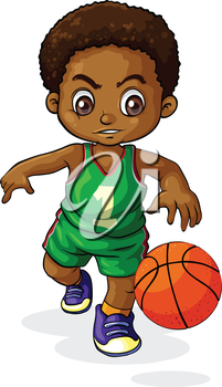 Illustration Of A Young Boy Playing Basketball On A White Background Boys Playing Girls Play Basketball Drawings