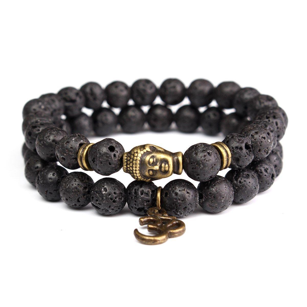 Click to buy ucuc pcslot natural mm lava stone beads bracelet black