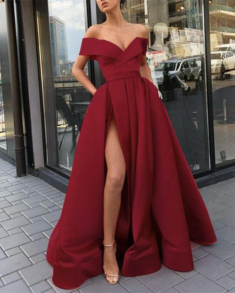 Elegant Yellow Wine Red Off The Shoulder Satin A Line Formal Long Gowns For Prom Pl6741 Trendy Prom Dresses Burgundy Prom Dress Prom Dresses With Pockets