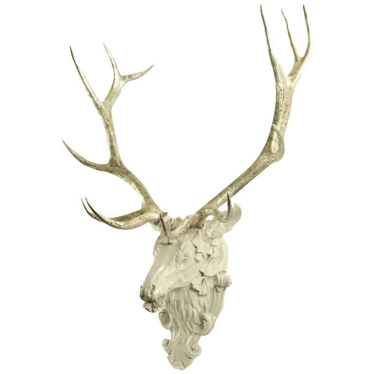 Silvered White Stag's Head | 1stdibs.com